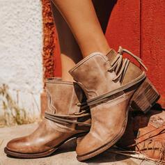Frauen PU Stämmiger Absatz Absatzschuhe Geschlossene Zehe Stiefel Stiefelette mit Schnalle Schuhe