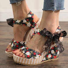 Frauen Stoff Keil Absatz Sandalen Keile Peep Toe Heels mit Bowknot Zuschnüren Schuhe