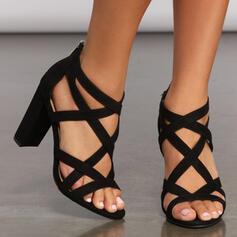 Frauen Kunstleder Stämmiger Absatz Sandalen Absatzschuhe Peep Toe Heels mit Reißverschluss Hohl-out Verband Schuhe
