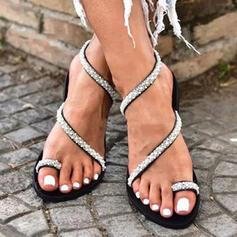 Frauen PU Flascher Absatz Sandalen Flache Schuhe Peep Toe Pantoffel Zehenring mit Strass Hohl-out Schuhe