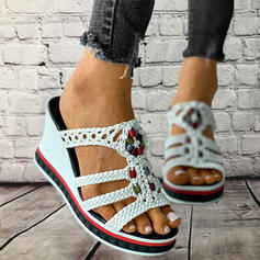 Frauen PU Keil Absatz Sandalen Plateauschuh Keile Peep Toe Pantoffel Heels mit Hohl-out Geflochtenes Band Schuhe