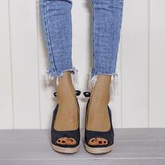 Frauen PU Keil Absatz Absatzschuhe Peep Toe mit Schnalle Spleißfarbe Schuhe