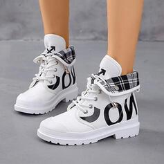 Frauen Leinwand PU Niederiger Absatz Geschlossene Zehe Stiefel High Top Round Toe Martin Stiefel mit Zuschnüren Schuhe