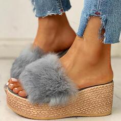 Frauen Kunstpelz Keil Absatz Keile Peep Toe Pantoffel Heels mit Pelz Schuhe