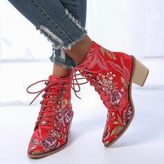 Frauen PU Stämmiger Absatz Stiefelette Spitze mit Zuschnüren Blumenmuster Schuhe