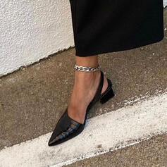 Frauen PU Stämmiger Absatz Spitze mit Tierdruckmuster Schuhe