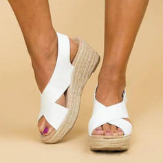 PU Keil Absatz Sandalen Keile Peep Toe Heels Schuhe