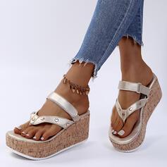 Frauen PU Keil Absatz Sandalen Pantoffel mit Niete Klettverschluss Schuhe