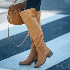 Frauen Veloursleder Stämmiger Absatz Geschlossene Zehe Stiefel über Knie Spitze mit Reißverschluss Zuschnüren Schuhe