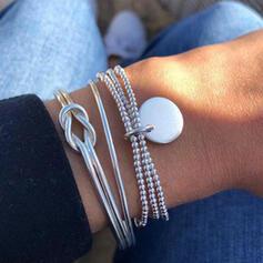Geschichtet Knoten Legierung Perlen mit Münze Frauen Armbänder 3 PCS