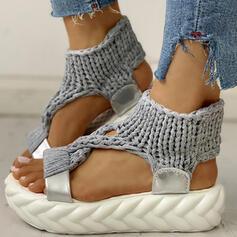 Frauen Stoff Flascher Absatz Sandalen Flache Schuhe Peep Toe Schuhe