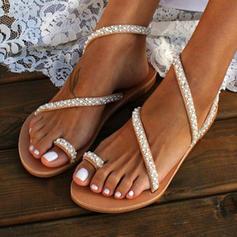 PU Flascher Absatz Sandalen Flache Schuhe Peep Toe Zehenring mit Nachahmungen von Perlen Schuhe
