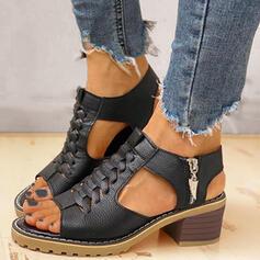 Frauen PU Stämmiger Absatz Sandalen Absatzschuhe Peep Toe Heels mit Reißverschluss Schuhe