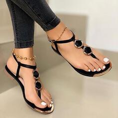 Frauen PU Flascher Absatz Sandalen Flache Schuhe Flip Flops Schuhe