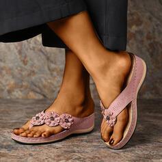 Frauen PU Keil Absatz Sandalen Flip Flops Pantoffel mit Blume Schuhe