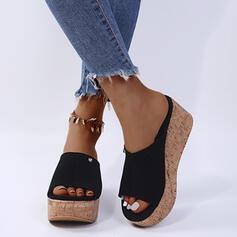 Frauen PU Keil Absatz Sandalen Keile Pantoffel mit Niete Schuhe