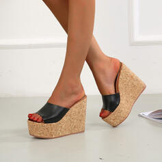 Frauen Mikrofaser Keil Absatz Sandalen Keile Peep Toe Pantoffel Heels Round Toe mit Einfarbig Schuhe