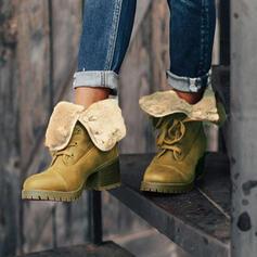 Frauen Veloursleder Stämmiger Absatz Stiefelette Schneestiefel Martin Stiefel Round Toe Winterstiefel mit Zuschnüren Einfarbig Schuhe