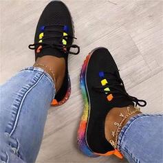 Frauen Stoff Flascher Absatz Flache Schuhe Low Top Round Toe Tanzschuhe mit Zuschnüren Spleißfarbe Schuhe