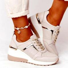 Frauen PU Flascher Absatz Flache Schuhe Round Toe Tanzschuhe mit Zuschnüren Spleißfarbe Schuhe