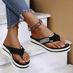 Frauen Veloursleder Flascher Absatz Sandalen Flip Flops Pantoffel mit Strass Schuhe