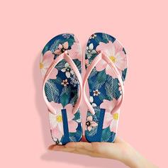 Frauen PVC Flascher Absatz Sandalen Flache Schuhe Peep Toe Flip Flops Pantoffel mit Hohl-out Blumenmuster Schuhe