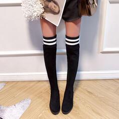 Frauen Veloursleder Stämmiger Absatz Stiefel Stiefel über Knie Schneestiefel Winterstiefel mit Tierdruckmuster Gummiband Farbblock Einfarbig Schuhe
