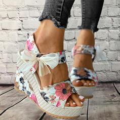 Frauen Stoff Keil Absatz Sandalen Plateauschuh Keile Peep Toe Heels mit Bowknot Hohl-out Schuhe