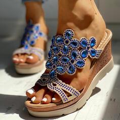 Frauen PU Keil Absatz Sandalen Keile Peep Toe Pantoffel Heels mit Strass Schuhe
