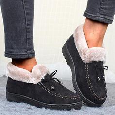 Frauen Stoff Flascher Absatz Stiefelette Schneestiefel Round Toe Winterstiefel mit Bowknot Einfarbig Schuhe