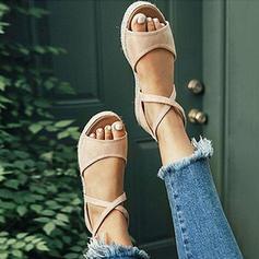 PU Flascher Absatz Sandalen Flache Schuhe Peep Toe mit Zuschnüren Schuhe
