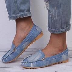 Frauen PU Flascher Absatz Flache Schuhe Round Toe Slipper Schlüpfen mit Klettverschluss Einfarbig Schuhe