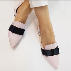 Frauen PU Stämmiger Absatz Spitze mit Bowknot Schuhe