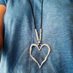 Jahrgang Herzförmige Boho Valentinstag Legierung Flechtschnur Frauen Halsketten