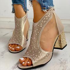 Frauen PU Stämmiger Absatz Sandalen Absatzschuhe Peep Toe Heels mit Strass Reißverschluss Schuhe