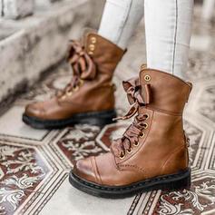 Frauen PU Stämmiger Absatz Stiefelette Martin Stiefel Round Toe mit Zuschnüren Spleißfarbe Schuhe