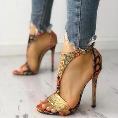 Frauen PU Stöckel Absatz Sandalen Absatzschuhe Peep Toe Heels mit Schnalle Schuhe