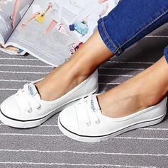 Frauen Leinwand Flascher Absatz Flache Schuhe Round Toe Schlüpfen mit Zuschnüren Schuhe