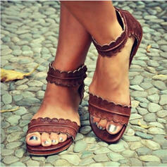 PU Flascher Absatz Sandalen Flache Schuhe Peep Toe mit Andere Schuhe