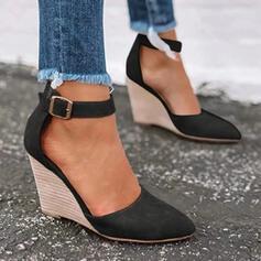 Frauen Kunstleder Keil Absatz Absatzschuhe Geschlossene Zehe Keile Spitze mit Schnalle Schuhe