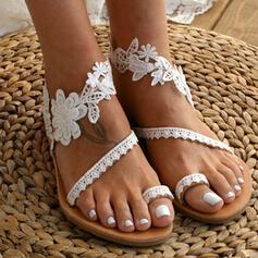 Frauen Kunstleder Flascher Absatz Sandalen Flache Schuhe Zehenring mit Stich Spitzen Blume Schuhe