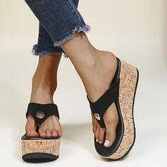 Frauen PU Keil Absatz Sandalen Flip Flops Pantoffel Round Toe mit Niete Zweiteiliger Stoff Schuhe