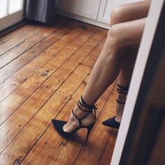 Frauen PU Stöckel Absatz Sandalen Absatzschuhe Geschlossene Zehe Spitze mit Zuschnüren Hohl-out Schuhe
