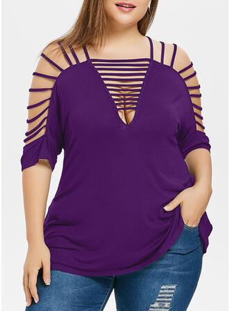Einfarbig Schulterfrei 1/2 Ärmel Lässige Kleidung Große Größen Blusen
