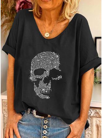Pailletten Rundhalsausschnitt Kurze Ärmel T-Shirts