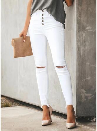 Einfarbig Übergröße Zerrissen Sexy Einfach Hosen