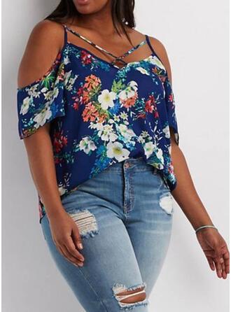 Blumen Druck Schulterfrei 1/2 Ärmel Lässige Kleidung Große Größen Blusen