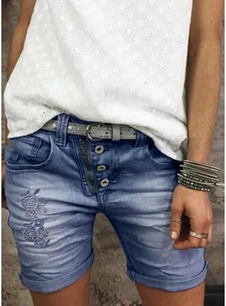 Shirred Dünn Jahrgang Kurze Hose Denim Jeans