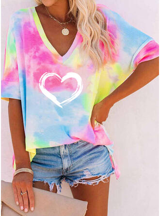 Herz Druck Tie Dye V-Ausschnitt 1/2 Ärmel T-Shirts