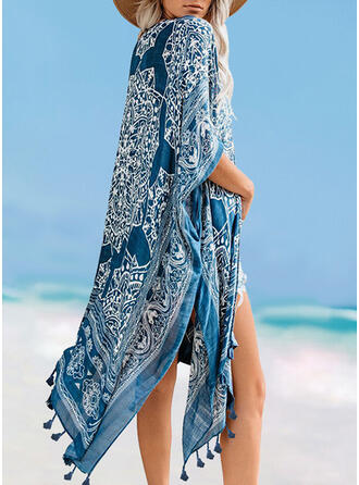 Quasten Geometrisch V-Ausschnitt Lässige Kleidung Boho Strandmode Bademode